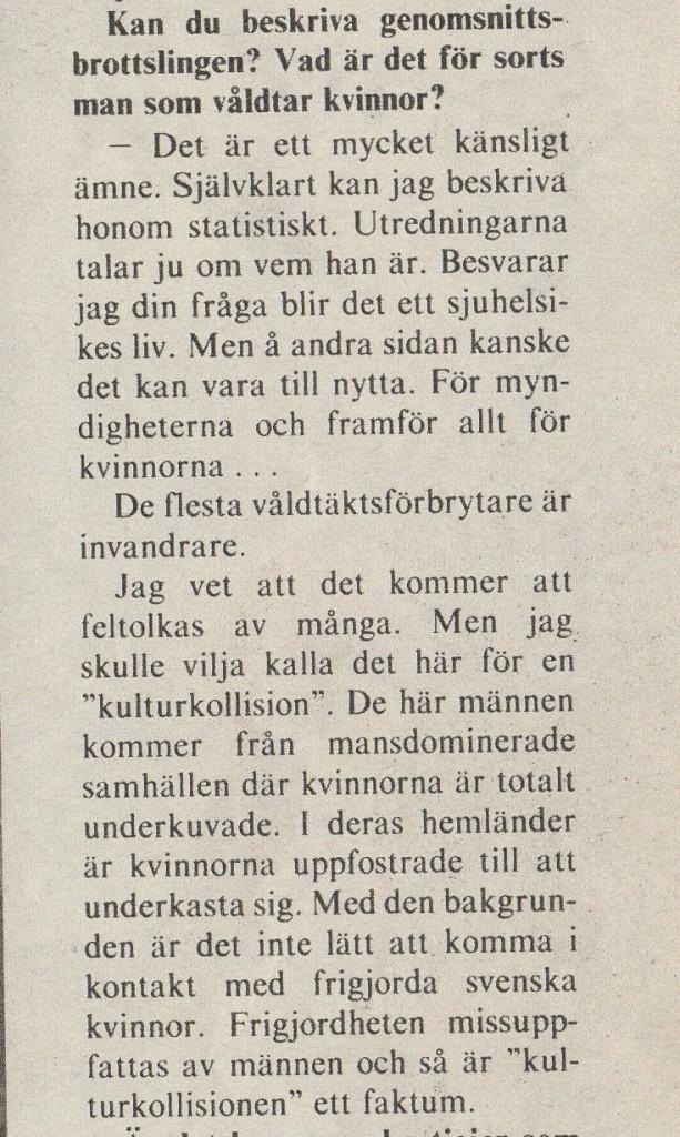 Nils Linder, chef för Stockholms sedlighetsrotel 1978, om våldtäkter.